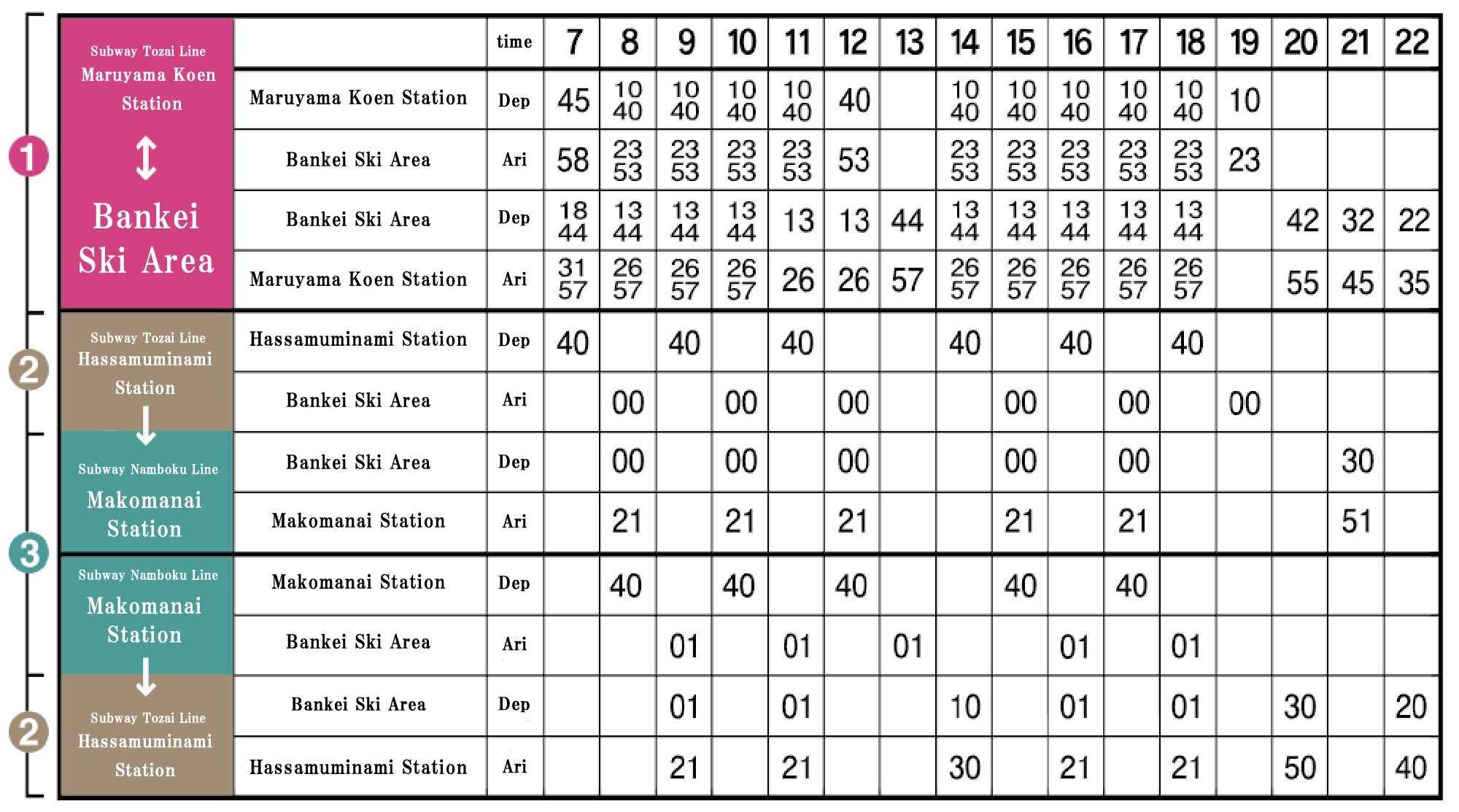 Winter route timetable